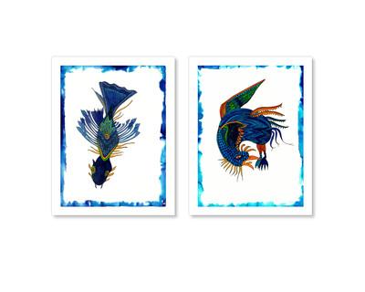 Blue bird blue fish set of 2 art prints thumb