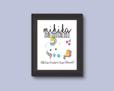 Baby unicorn wall art thumb