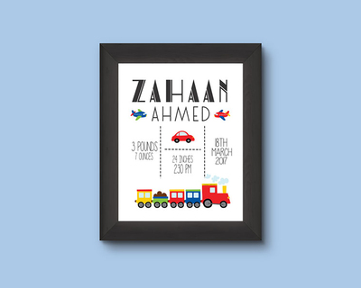 Transport birth stats wall art thumb