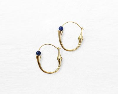 Totem hoop earrings gold thumb