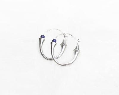Totem hoop earrings silver thumb