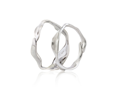 Dune bangle set of 2 silver thumb