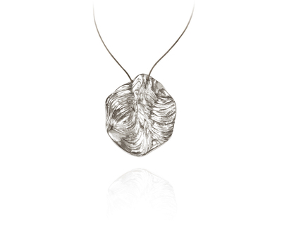 Agung coral round pendent silver thumb