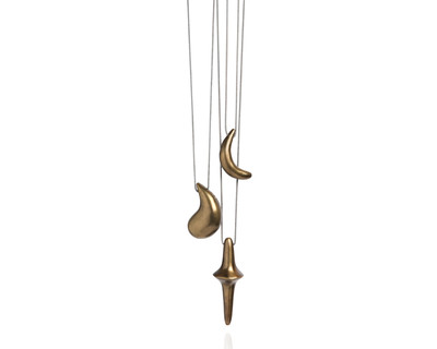 Totem pendents bronze set of 3 thumb