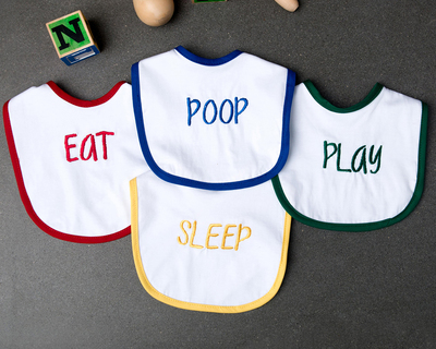 Eat play sleep poop bibs set of 4 thumb