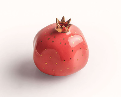 Pomegranate decor sculpture red thumb