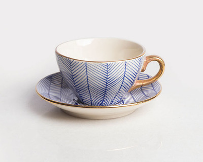 Chevron cup saucer blue thumb