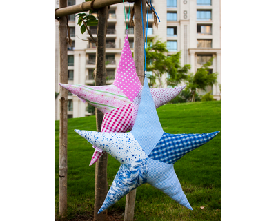 Star fish shaped patchwork cotton cushions thumb