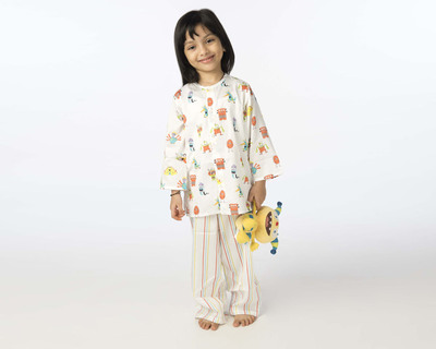 Kids monster printed nightsuit thumb