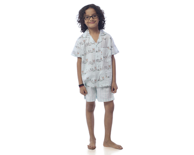 Kids cycle printed nightsuit with shorts thumb