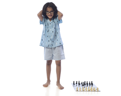 Kids chess printed nightsuit with shorts thumb