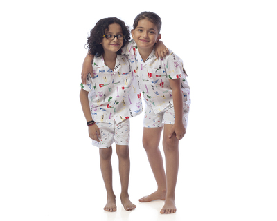 Kids music printed nightsuit with shorts thumb