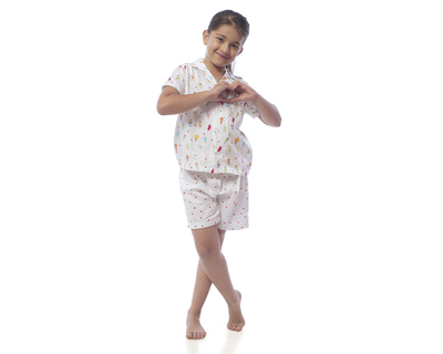 Kids ice cream printed nightsuit with shorts thumb