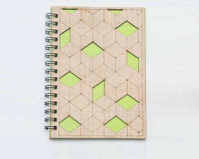 Geometric wooden diary thumb