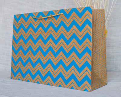 Chevron large gift bag blue thumb