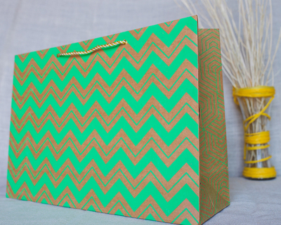 Chevron large gift bag green thumb