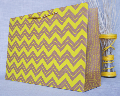 Chevron large gift bag yellow thumb