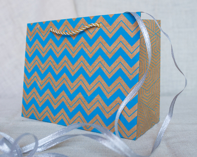 Chevron medium gift bag blue thumb