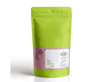 Rose tulsi green tea 100 grams 40 cups thumb