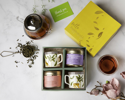 Hello happiness with cups tea gift box thumb