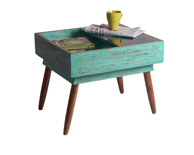 Mint distressed upcycled drawer table thumb