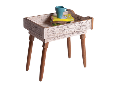 Antiqued white upcycled drawer table thumb