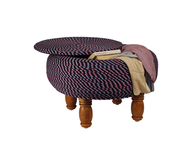 Trichromatic roped ottoman with storage thumb