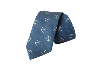 Anchor print denim tie thumb