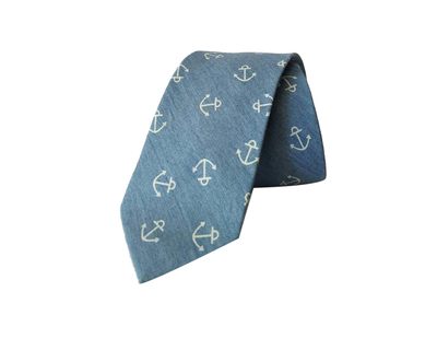 Anchor print light blue denim tie thumb