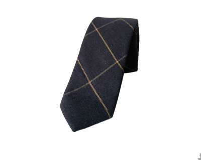 Woolen blue checks tie thumb