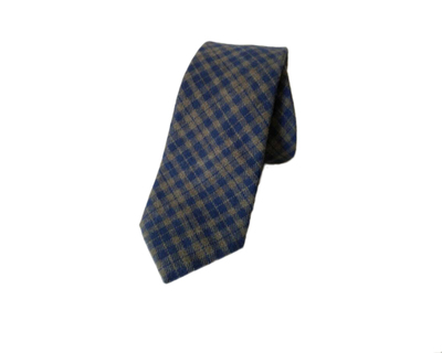 Dark blue cotton checks tie thumb
