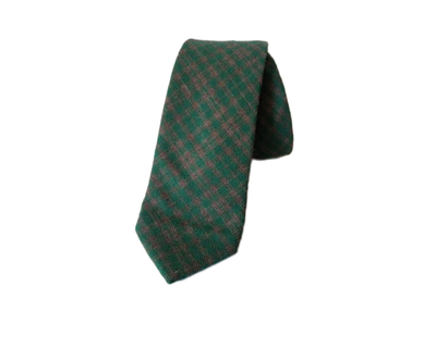 Green cotton checks tie thumb
