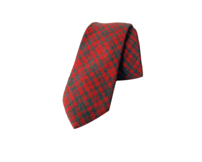 Coral cotton checks tie thumb