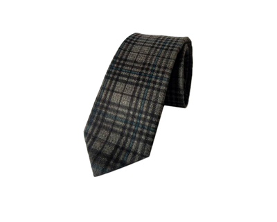 Acrylic print grey with blue classic checks tie thumb