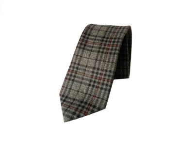 Acrylic print grey with red checks tie thumb