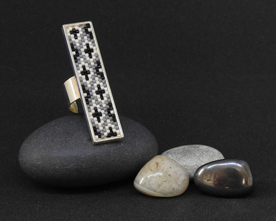 Ikat long ring in black and white thumb