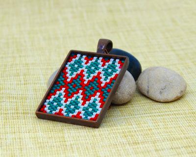 Ikat short pendant red mint green and cream thumb