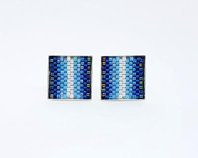 Blue stripe cufflinks thumb