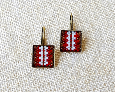 Stripe earrings in deep red bronze and cream thumb