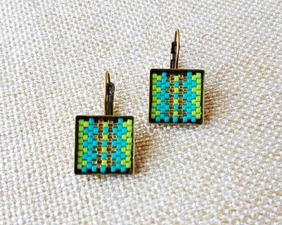 Stripe earrings in aqua blue lime green and light topaz thumb