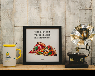 Happy pizza poster frame thumb