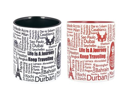Wanderlust red black coffee mug thumb