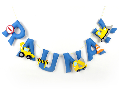Personalised construction theme name bunting thumb