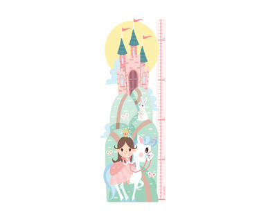 Princess height chart sticker thumb
