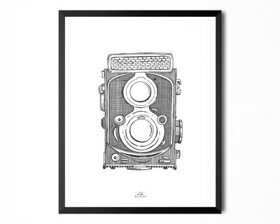 Art print vintage camera white thumb