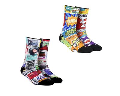 Super saver pack of 2 pairs comic crash cassettes unisex crew length socks thumb