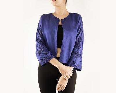 Jacket with embellished sleeves thumb