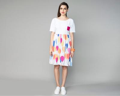 Colour block balloon dress thumb
