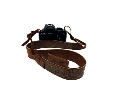 Leather camera strap thumb