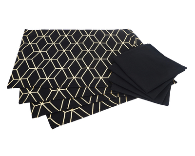 Salawas black tesselation print table mat thumb